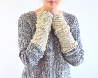 Knit Chunky Fingerless Arm Warmers Gloves | The Princetons