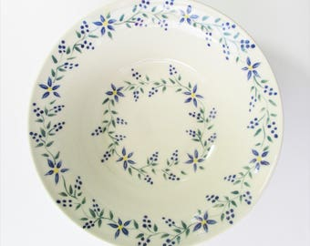 Pottery Serving Bowl, Stoneware Bowl, Ceramic Serving Bowl, Fruit Bowl, Blue Floral Pottery Bowl, Pottery Dinnerware Bowl, Hostess Gift