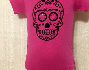 Sugar Skull, Dia de los Muertos, Frida, Pink baby bodysuit or shirt