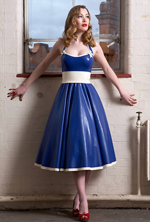 Lady Lucie Latex 50s Circle Dress & Bow Belt