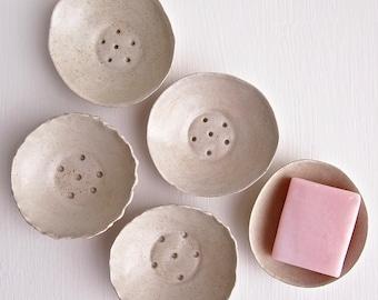 Handmade mini oatmeal pottery soap dish, oatmeal ceramic soap dish, mini soap holder, white pottery soap dish, ceramic soap dish, home decor