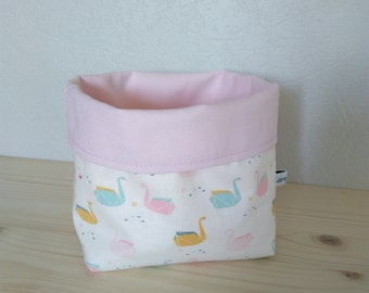 Fabric basket empty Pocket pastel pink and off white swans origami, basket patterns fabric baby room
