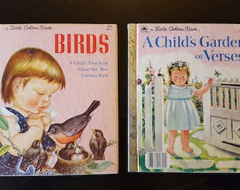 Two Little Golden Books Illustrated by Eloise Wilkin - Birds and A Child's Garden of Verses