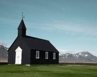 Iceland Print, Little Black Church, Iceland Photography, Travel Photography, Fine Art Photography, Large Wall Art, Iceland Art