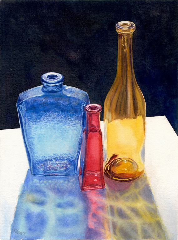 Glass Bottles Original Watercolor Painting By Cathy Hillegas