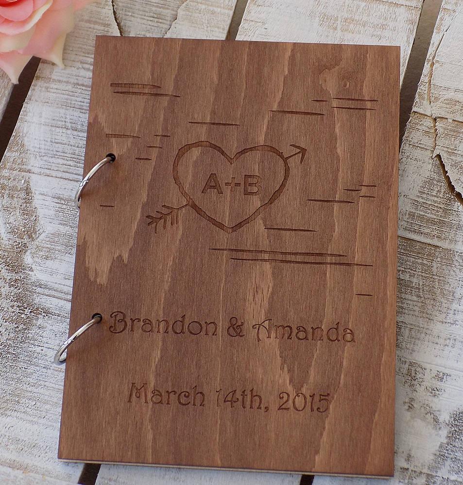 Arrow Wood Wedding Guest Book, Custom Wedding Guestbook, Rustic Wood ...