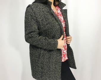 Vintage Tweed Car Coat | Short Coat | Wool Blazer Jacket | XS | S | M