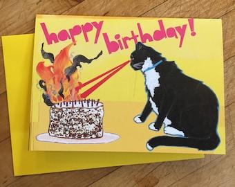 Laser Cat Birthday Card