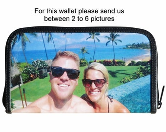 Extra LARGE custom zip wallet for women made using pictures from you - FREE SHIPPING - customized bride wedding honeymoon honey moon gifts