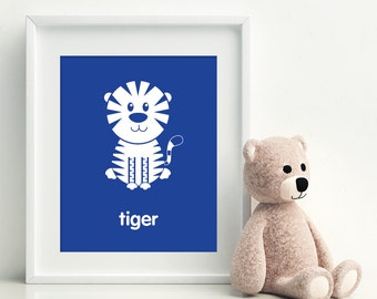 Nursery Art Print - Tiger art poster - nursery art - child's room decor