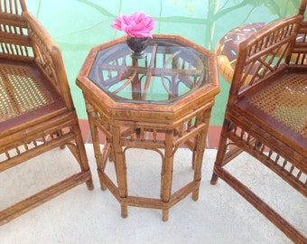 "BAMBOO SIDE TABLE / One Bamboo Brighton Style Side Tables 23""Tall x 17.5""/ Chippendale Fretwork Palm Beach Bohemian at Retro Daisy Girl"