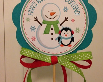 Snowman and Penguin Center Piece Stick or Cake Topper