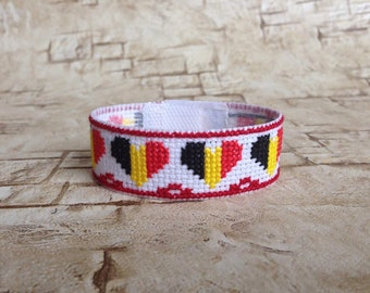 Belgian flag Belgian bracelet Belgium bracelet Flag bracelet Belgium Patriotic jewelry Embroidered flag Embroidery flag Belgium jewelry