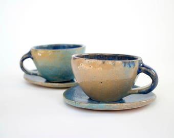 Handmade glazed ceramic mug set with plates , latte mug , coffee  mug, Stoneware mug, pottery mug, ceramics and pottery, coffee mug, set