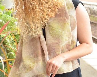 Botanical Printed Scarf, one off piece soft pongee silk with imprints of Polygonum cuspidatum