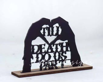 Zombie Hand Heart Shaped Till Death Do Us Part Cake Topper - Event Cupcake Topper