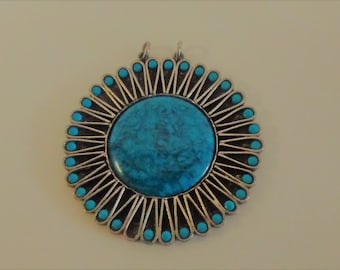Vintage Pendant for Necklace, Faux Turquoise and Silver-tone, Large Statement Necklace, Boho, Hippie Chic, Flower Power, 1970's