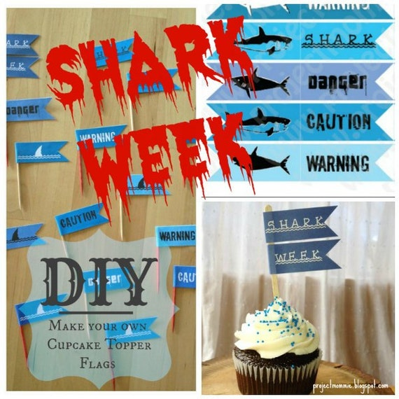 pdf shark week flag cupcake topper template with instructions. Black Bedroom Furniture Sets. Home Design Ideas