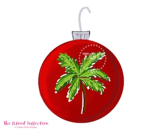 Preppy Red Christmas Ornament Clip Art - Christmas Clipart, watercolor clip art, digital clip art, invitation clipart