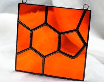 Caffeine BRIGHT Orange Stained Glass Suncatcher