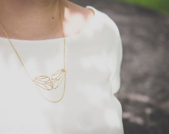 Iphigenie necklace - fairy wings necklace gold plated 18k - art nouveau 1920s  victorian  bridal necklace - dragonfly necklace
