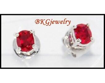 18K White Gold Gemstone Stud Ruby Jewelry Earrings [E0033]