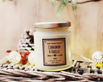 Cinnamon Vanilla Soy Candle, Scented Soy Candles, Christmas Candles, Christmas Scent, Cinnamon Candle, Soy Candles