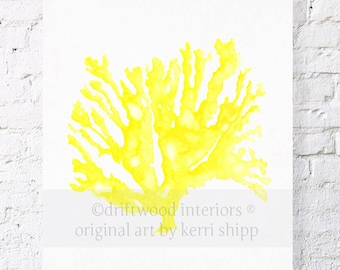 Sea Coral in Marigold Yellow Print - Coral Art Print - Sea Life Wall Art