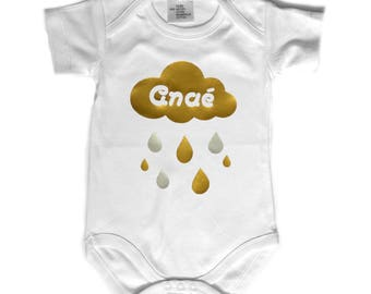"""White Bodysuit MC """"Cloud"""" gold and silver personalized with name"""