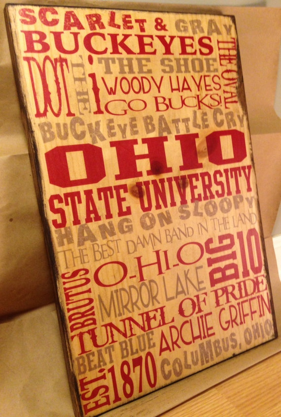 Ohio State Typography Wood Sign, OSU Art On Wood, Buckeyes Sign, Ohio Decor, Boys Room Decor, Gift For Dad, Gift For Graduate, Ohio Buckeyes