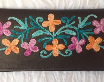 Leather Embroidered Floral Wallet