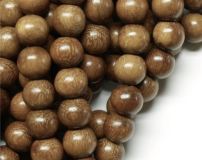Wood Bead, Round 12mm, Robles - Five 16 Inch Strands (WDRD-12RB)