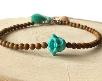 Turquoise buddha anklet with 4mm brown glass beads, turquoise tassel and shell charm