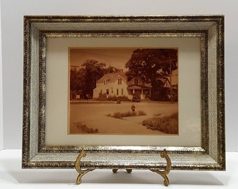Vintage White House Sepia Picture Art Work of the American Dream Framed and Matted