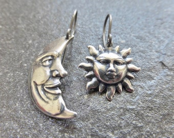 Antique Silver Asymmetrical Sun And Moon Earrings With Hypoallergenic Titanium, Niobium OR 925 Sterling Silver Ear Wires - Boho Earrings