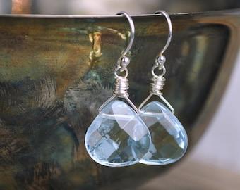 Lavender Quartz Briolette Earrings, Dangle Earrings, Faceted Earrings, Sterling Silver, Drop Earrings, Wire Wrap, SidneyAnn Jewelry