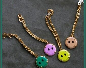 1960s Vintage Metal Smiley Face Charm Bracelet
