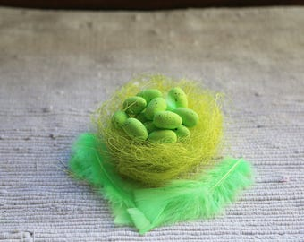 12 small green Easter eggs. Easter ornaments. Easter decoration. Home green decor.