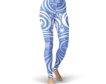 Blue Winter Swirl Leggings