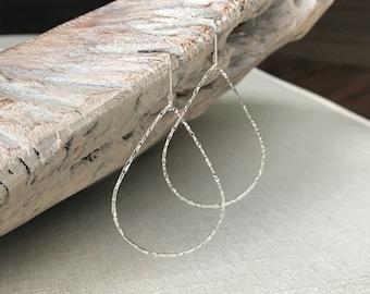 Hoop Earrings, Hoop Earrings Silver, Silver Hoop Earrings, Large Hoop Earrings, Big Hoop Earrings, Tear Drop Hoop Earrings, Silver Hoops