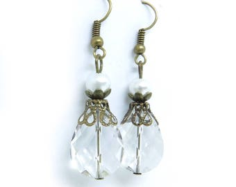 Clear Glass Drops Antique Brass Earrings