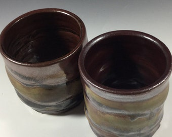 Brown Cup Set - Ceramic Barware - Old Fashioned Cup - Lowball - Rocks Cup - Wine Cup - Handmade Pottery