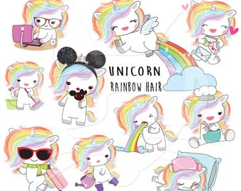 Rainbow hair unicorn set 1 , Kawaii Unicorn clipart instant download PNG file - 300 dpi