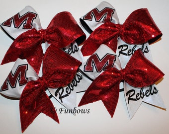 Awesome Custom Sequin Rebels Cheerleading Bow by Funbows