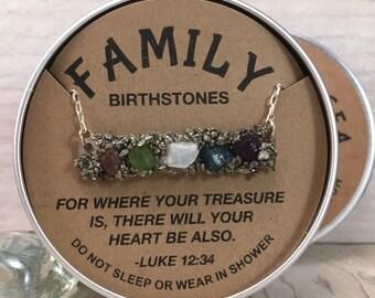 FAMILY Birthstone Pendant, Simple and Elegant, Gift for Mom,  Gift for Grandma, Gift for girlfriend, Mothers wedding gift, Family Treasure