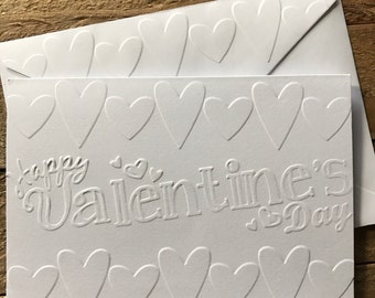 Valentine's Day Card, Hearts Card, White Embossed Cards, Greeting Cards, Stationery Set, Love Note Cards, Blank Note Cards