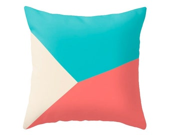Turquoise and red pillow turquoise cushion summer colors pillow summer pillow coral red pillow geometric pillow triangles pillow