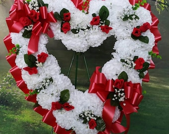 Open Heart Cemetery Wreath, Red and White Wreath, Sympathy Wreath, Gravesite, Memorial, Funeral Flowers, Arrangement, Cemetery Flowers