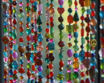 Beaded Curtain,Glass Beaded Suncatcher, Window Curtain,Beaded Door curtain,Hanging Door Beads-Beaded Wall Hanging,Crystal Beaded curtains