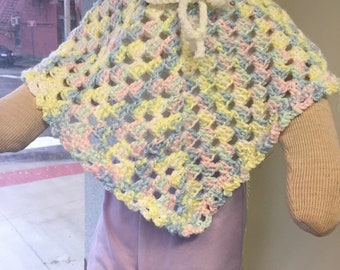 Size 1 - 2 Toddler Poncho, crocheted poncho, Handmade, poncho, Toddler, Free shipping
